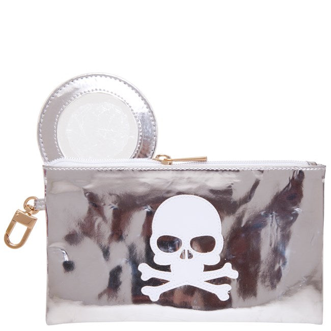 Lolo Shiny Silver Laura Case with White Skull - Ship Chic