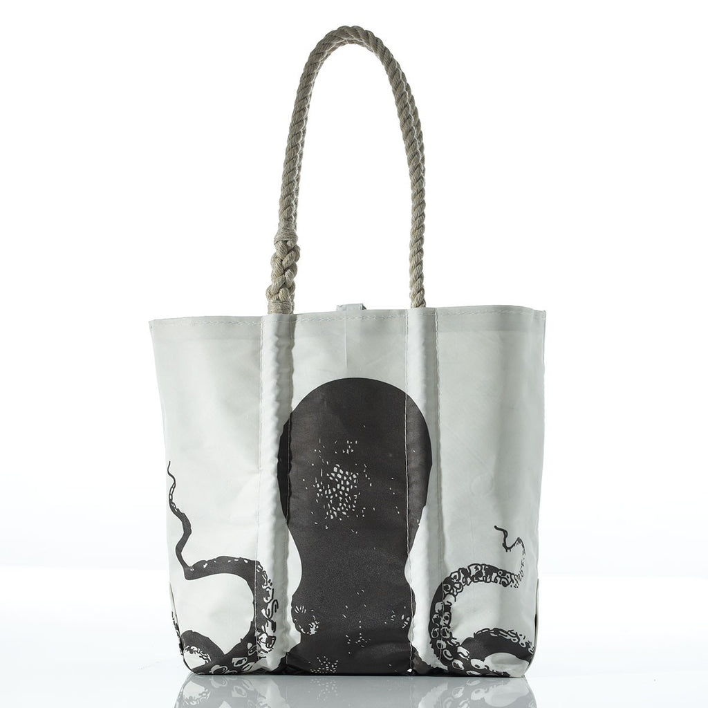 Seabags Medium Tote Octopus Black with Hemp Handle - Ship Chic