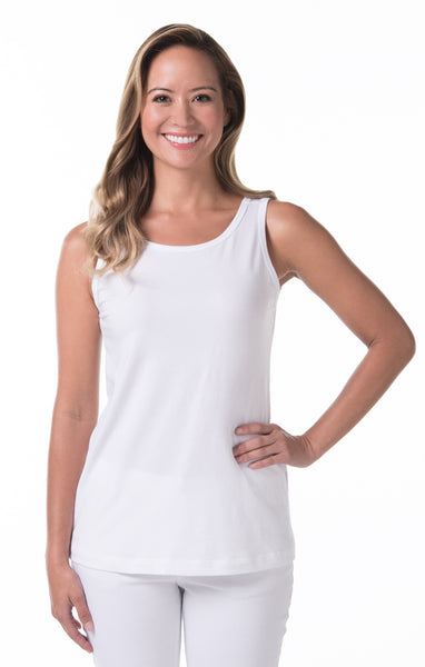Tori Richard Pima Knits Paige Tank - White - Ship Chic