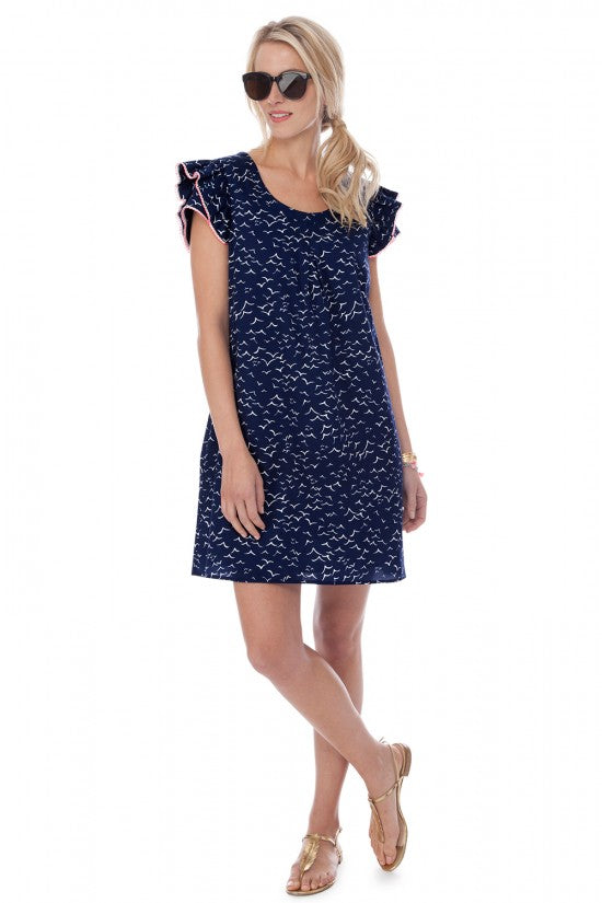 Persifor Clare Flutter Dress - Seagull in Admiral Blue - Ship Chic