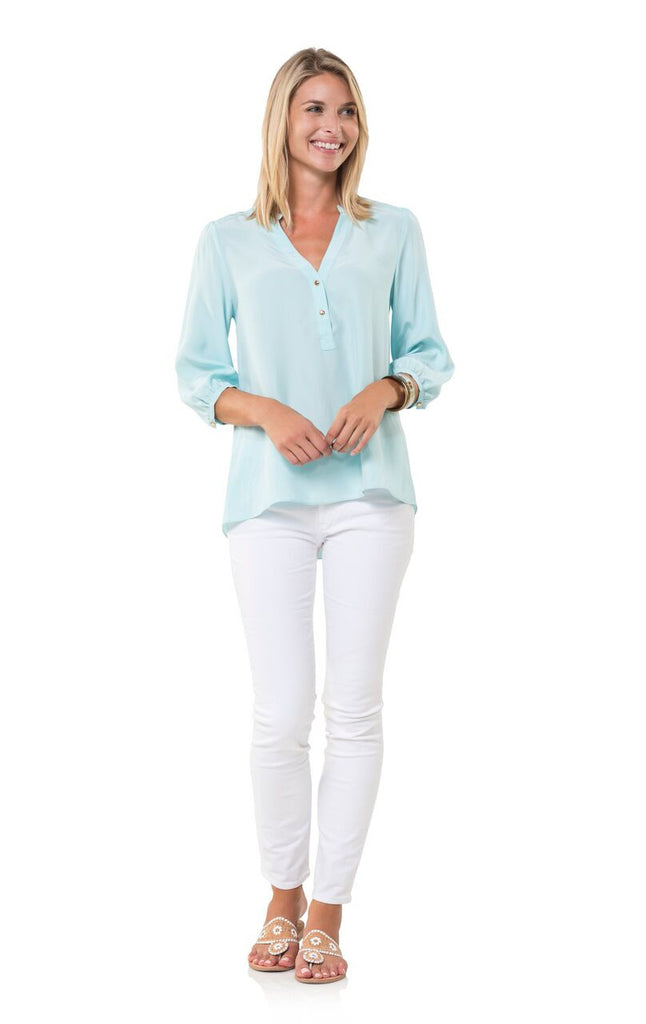 Sail to Sable Mint Silk Blouse with Gold Buttons - Ship Chic