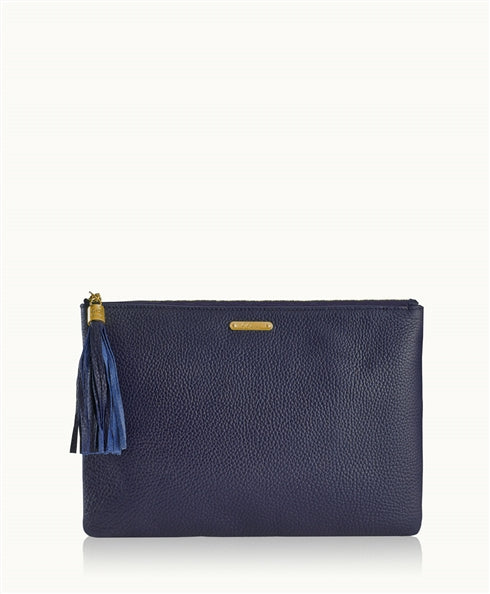 Uber Clutch in Navy Pebble Grain