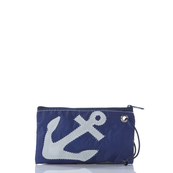 White on Navy Anchor Wristlet