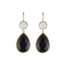 Margaret Elizabeth 2 Stone Drops Moonstone & Black Onyx - Ship Chic