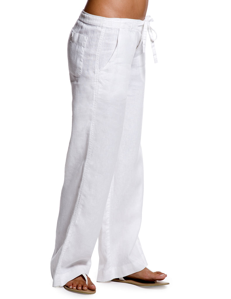 Island Company Relaxed Linen Pant White - Ship Chic