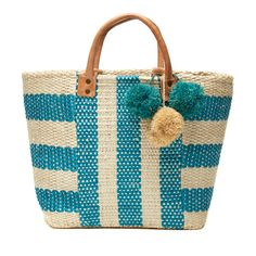 Mar Y Sol Collins Striped Basket Tote in Aqua - Ship Chic