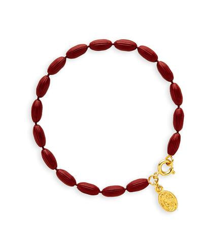Candy Shop Vintage Charleston Rice Bead Bracelet  Burgundy - Ship Chic