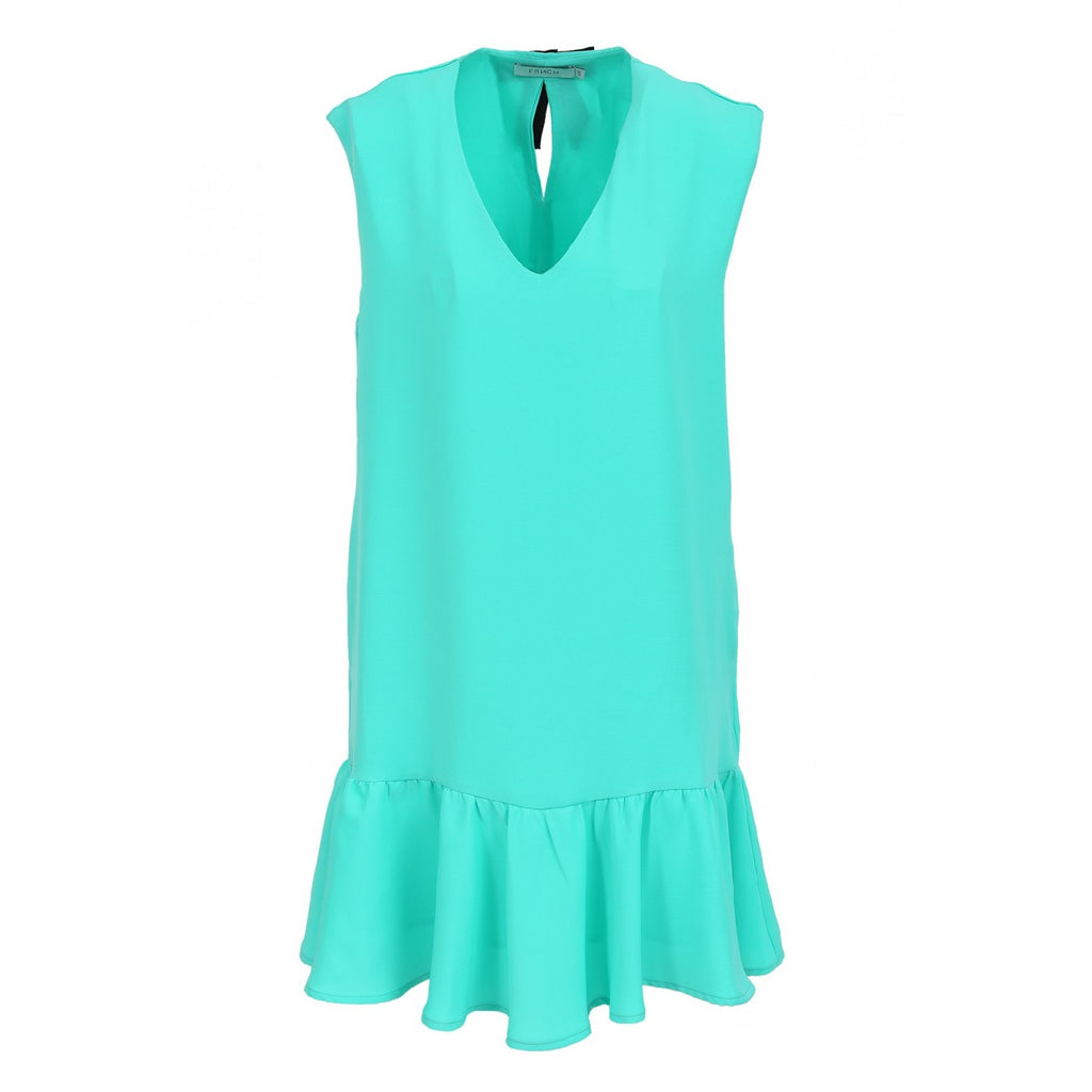 FRNCH Green V-Neck Dress With Ruffle Hem Line - Ship Chic