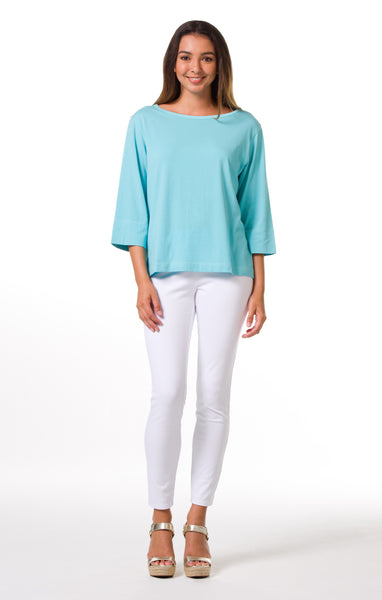 Tori Richard Pima Knits Penny Top - Turquoise - Ship Chic
