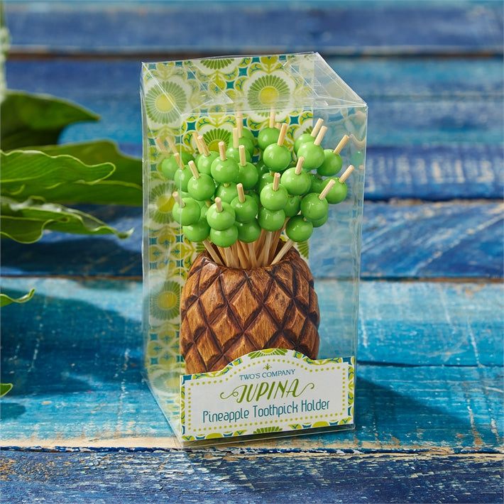 Two's Company Jupina Pineapple Pick Holder, 25 Picks - Ship Chic