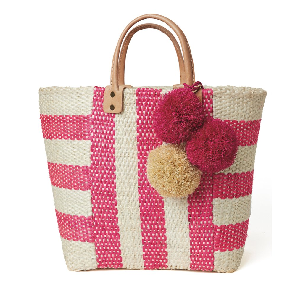 Mar Y Sol Collins Striped Basket Tote in Pink - Ship Chic