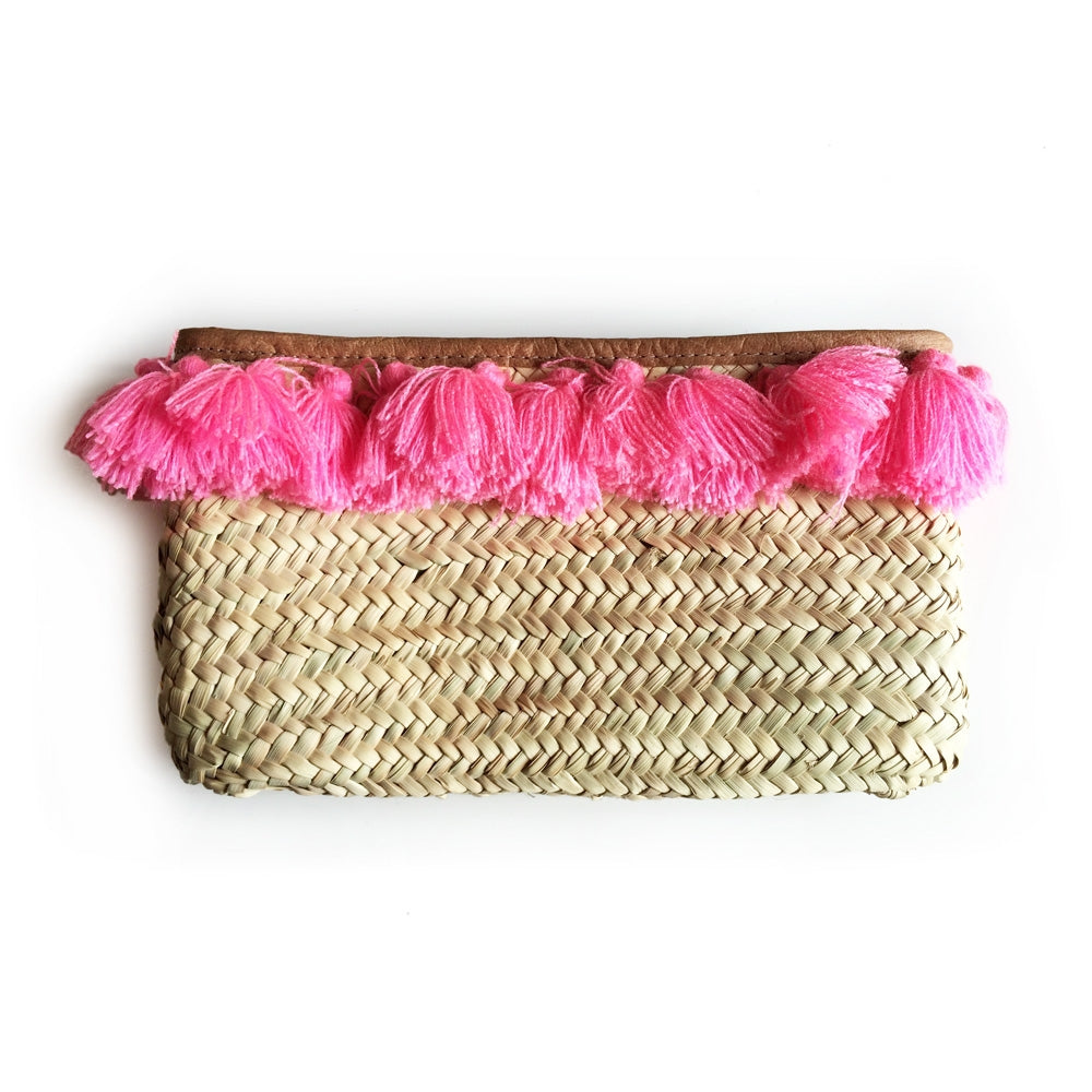 Island Days Clutch - Pink Tassels