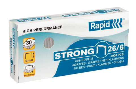 Rapid 26/6 (5x5000) Strong Staples - 50% Discount - (£1.62 per box +VAT) SAME DAY despatch