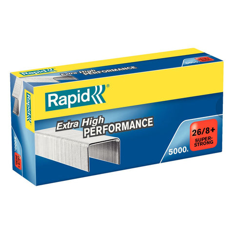 TRADE PACK - 5 Boxes Rapid 26/8+ (5x5000) Extra High Performance Super Strong Staples (£3.71 per box + VAT) 50% Discount SAME DAY DESPATCH