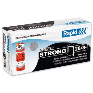 TRADE PACK - 5 Boxes Rapid 26/8+ (5x5000) Super Strong Staples - 50% Discount (£3.64 per box + VAT) SAME DAY despatch