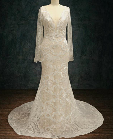 2019 Long Sleeve Lace Wedding Dress with Plunging Neckline