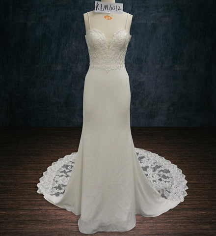 Lace Sheath Wedding Dress with Plunging Neckline, Spaghetti Straps, Stretch Fabric and See Through Train