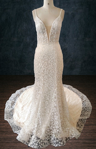 Lace Sheath Wedding Dress with Plunging Neckline and Low Back