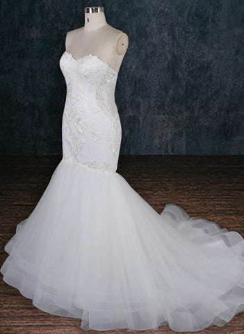 Lace Wedding Dress with See Through Lace Back and Tulle Skirt