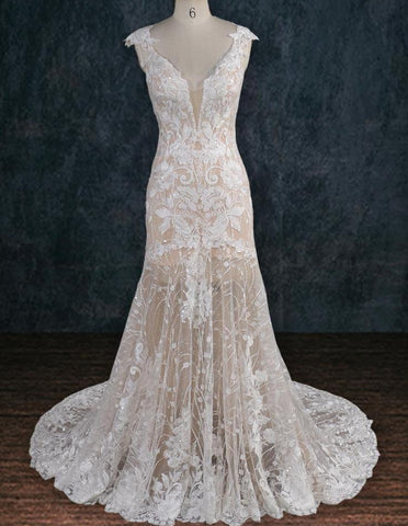 Lace and Nude Wedding Dress with Plunging Neckline and Beading