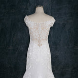 Beaded Lace Wedding Dress with Off the Shoulder Sleeves and See Through Lace Back