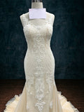 Lace Sheath Mermaid Wedding Dress with Straps and See Through Lace Back