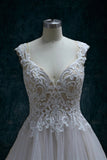 Beaded Lace A-Line Wedding Dress With Straps Cap Sleeves