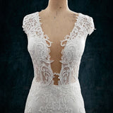 Berta Bridal Replica Lace Wedding Dress with Plunging Neckline