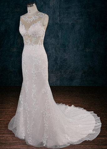 Illusion Lace Wedding Dress with See Through Bodice