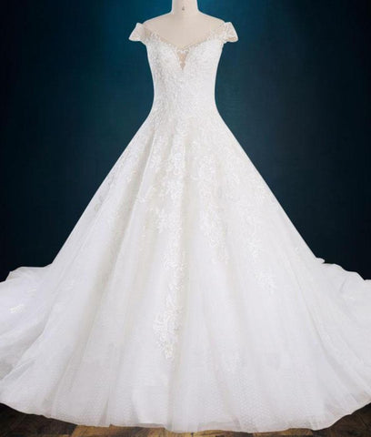 A-line Beaded Lace Wedding Dress with Cap Sleeves