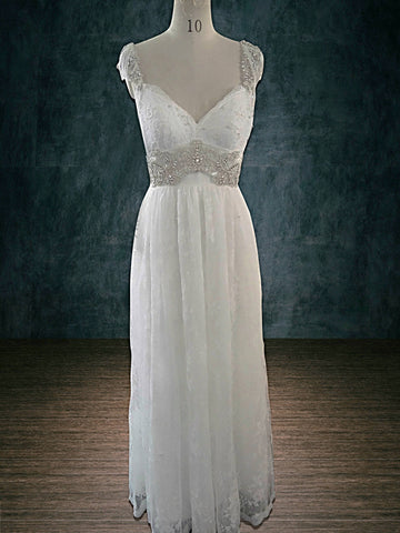 Anna Campbell replica sheath wedding dress heavy beading lace empire
