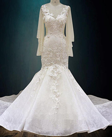 Beaded 3D Lace Fabric Flowers Wedding Dress with Chiffon Sleeves