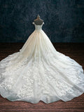 Beaded Lace A-line Ballgown with Off the Shoulder Cap Sleeves