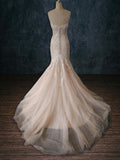 Beaded Lace Mermaid / Sheath Wedding Dress with Tulle Skirt