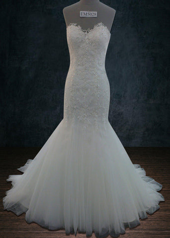 Beaded Lace Mermaid Trumpet Wedding dress with a Sweetheart Neckline and a Tulle Skirt