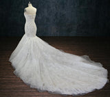 Beaded Lace Mermaid Wedding Dress with Long Train
