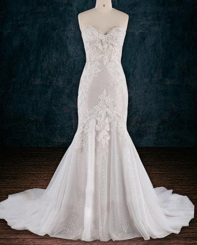 Beaded Lace Sheath Wedding Dress 2019