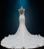 Beaded Lace Sheath Wedding Dress with Long Train