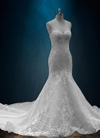Beaded Lace Sparkly Mermaid Wedding Dress