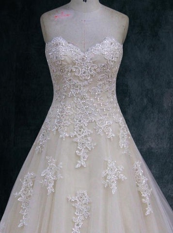 Beaded lace wedding dress A-line Ball gown, Sweetheart Neckline