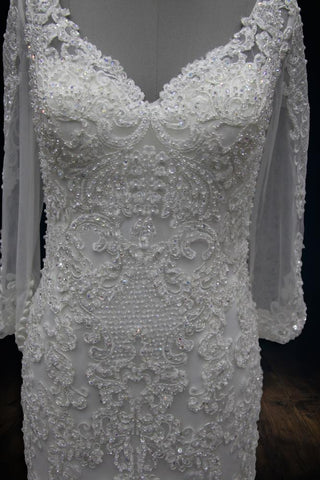 Beaded Mermaid Wedding Dress with V-Neck and Long Sleeves 2019