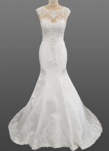 Heavily Beaded Lace and Satin Mermaid Wedding Dress with Cap Sleeves And Necklaces