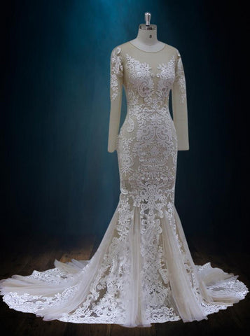 Illusion Lace Sheath Wedding Dress with Plunging Neckline and Low Back