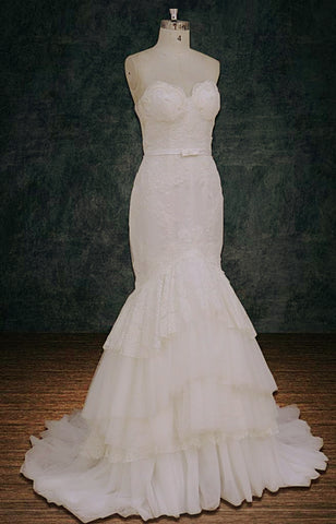 Inbal Dror replica wedding dress nude lace layers sweetheart neckline