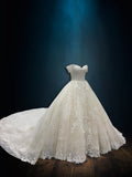 Lace A-line Ballgown Wedding Dress with Off the Shoulder Sleeves