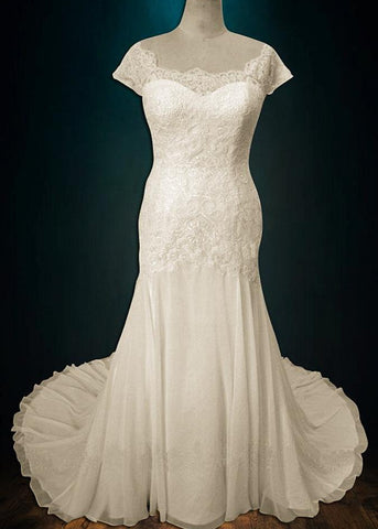 Lace and Chiffon Wedding Dress with Cap Sleeves
