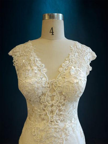 Lace Berta Replica with Plunging Neckline and Low Back