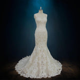 Lace Mermaid Sheath Wedding Dress with Straps and Low Back