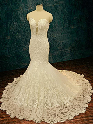 Lace Mermaid Wedding Dress with Plunging Neckline