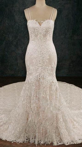 Lace Sheath Wedding Dress with Opened Back and Spaghetti Straps 2019